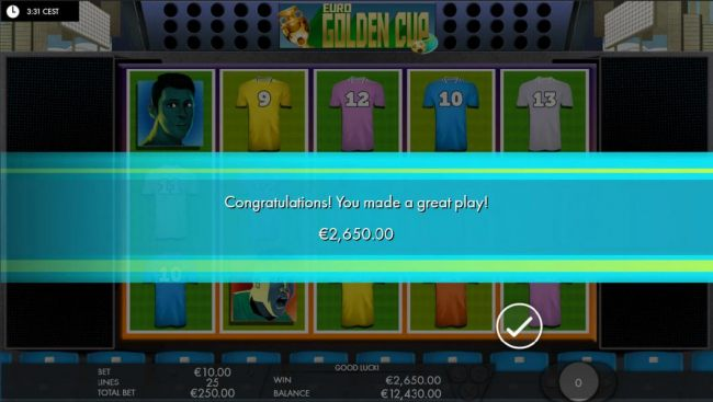 The free games feature pays out a total of 2,650.00