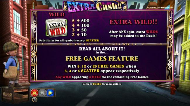 Wild and Extra Wild paytable and rules