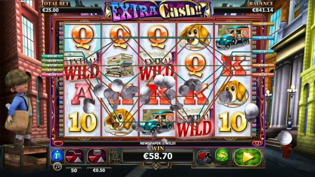 A $142 jackpot triggered by multiple winning paylines