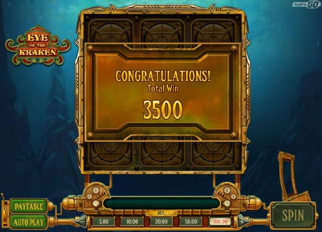 The Conquer the Karken bonus round pays out a total of 3500 coins for a big win.