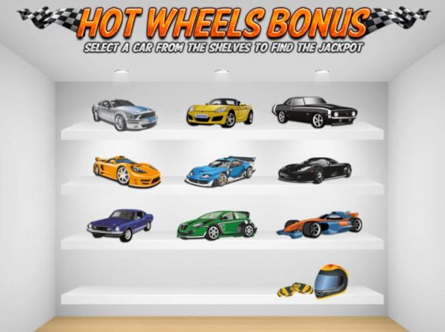 Hot Wheels Bonus Feature Game Board - Select a car from the shelves to find a jackpot