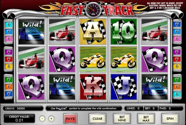 main game featuring five reels, nine paylines and 5x bet per line