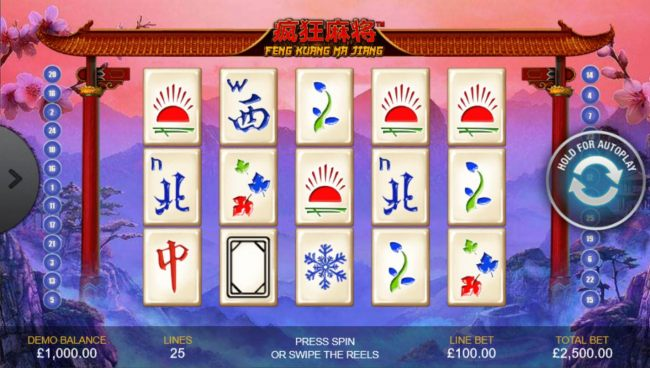 A popular Chinese game themed main game board featuring five reels and 25 paylines with a $500,000 max payout
