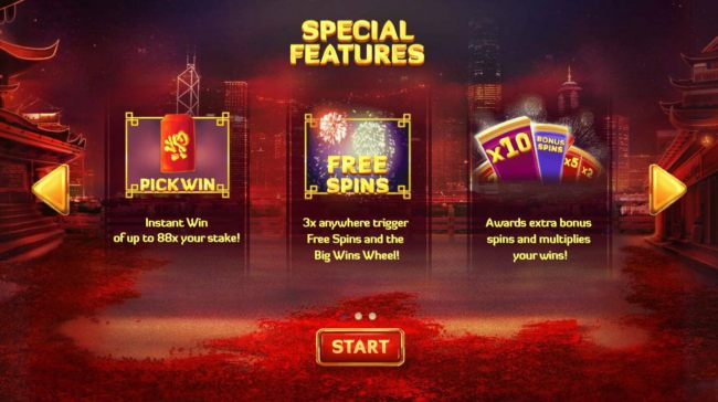 Special Features - Pick Win, Free Spins and Xtra Bonus Spins and Multipliers.