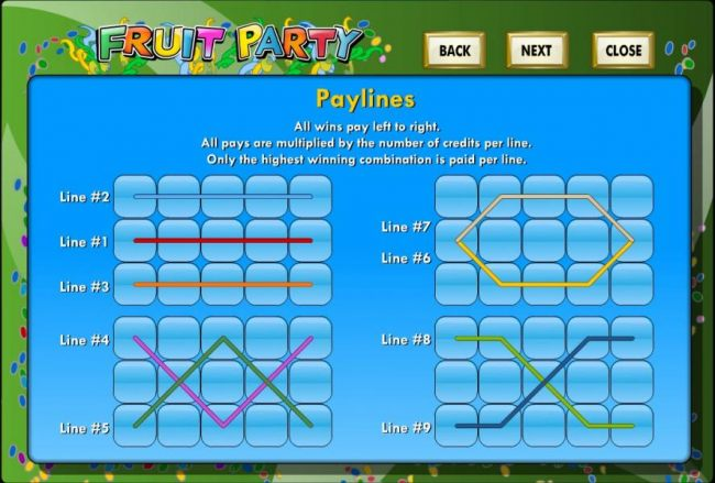 Payline Diagrams 1-9 - All wins pay left to right. All pays are multiplied by the number of credits per line. Only the highest winning combination is paid per line.