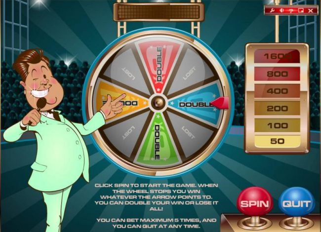 gamble feature game board - spin the wheel to for a chance to increase your winning