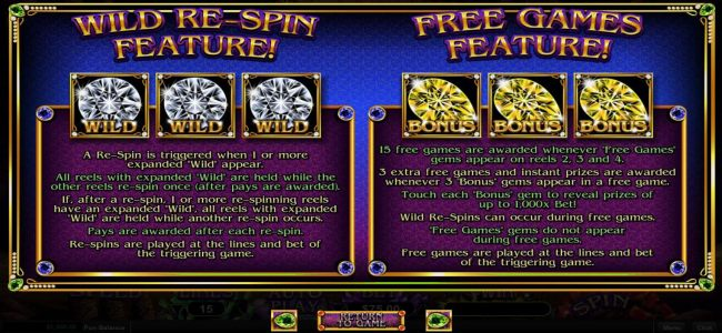 Wild Re-Spin Feature and Free Games Feature Rules