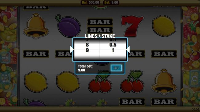 Click the stakes and Lines button to change the coin value or lines played
