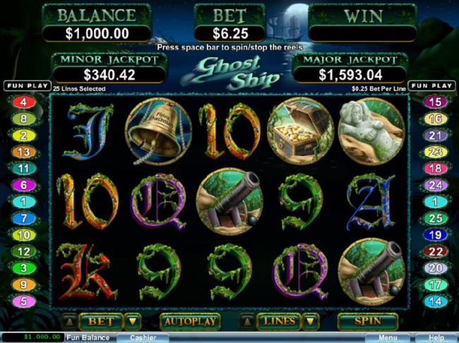 Main game board featuring five reels and 25 paylines with a progressive jackpot