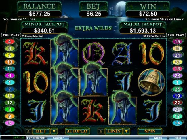 Multiple winning paylines triggered by Ghost Captain wild symbols.