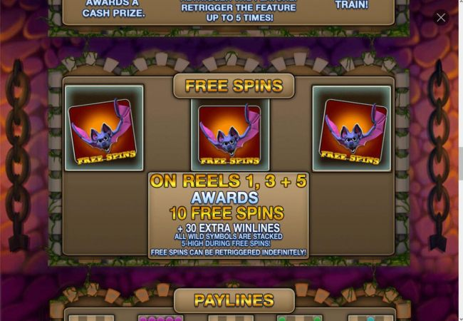 # bat free spins symbols anywhere on reels 1, 3 and 5 triggers free spins feature.