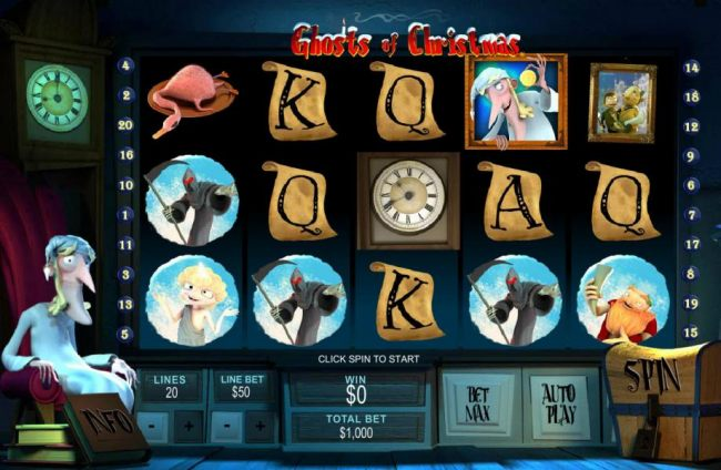 Main game board featuring five reels and 20 paylines with a $500,000 max payout