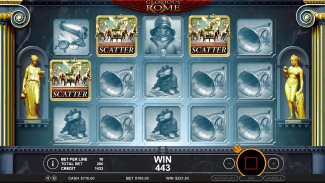 Three quadriga scatter symbols anywhere on the reels triggers the free spins feature.