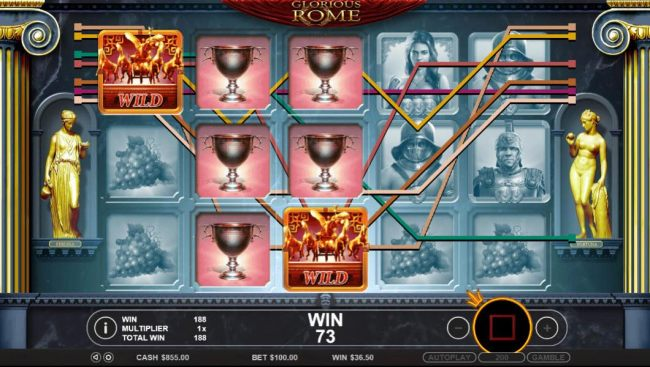 Multiple winning paylines trigger a big win during the free spins bonus feature.