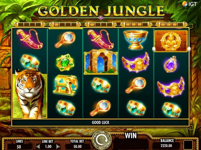 Collect 4 golden statutes for each reel and reel is turned into stacked wild.