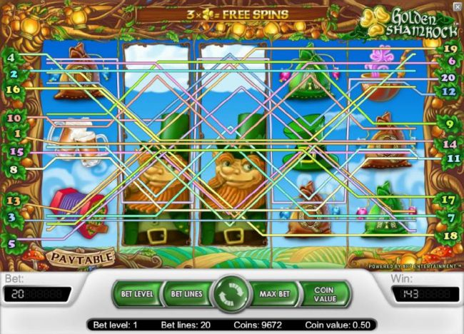 another example of a multiple winning paylines triggering a 143 coins jackpot