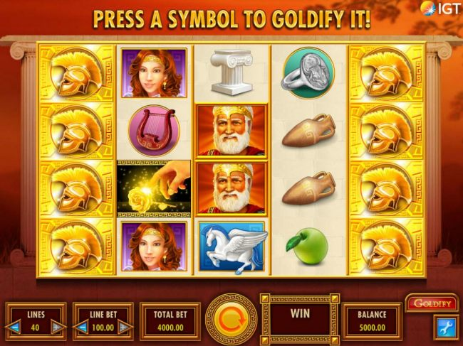 A Greek mythological themed main game board featuring five reels and 40 paylines with a $250,000 max payout