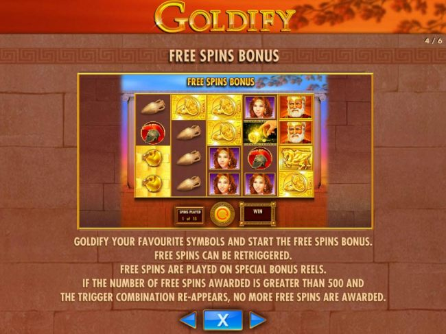 Goldify your favourtite symbols and start the free spins bonus. Free Spins can retriggered. Free Spins are played on special bonus reels.