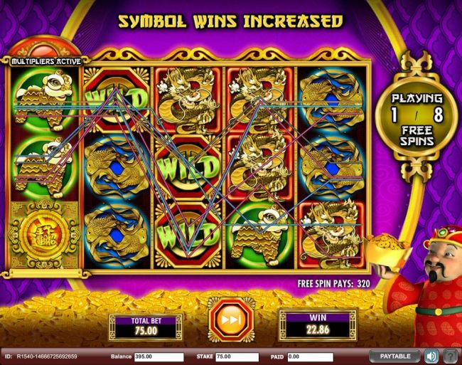 Multiple winning paylines triggered during the Free Games feature awarding a 320.00 payout.