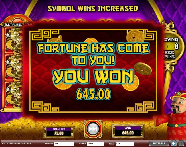 A 645.00 big win is paid out by the free games feature.
