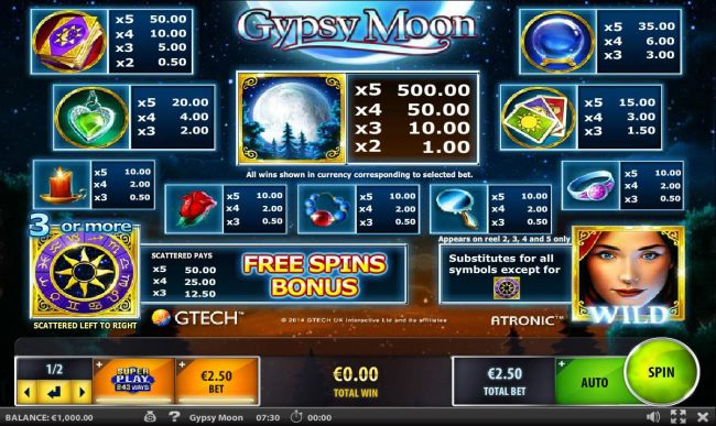 Slot game symbols paytable featuring mystical inspired icons.