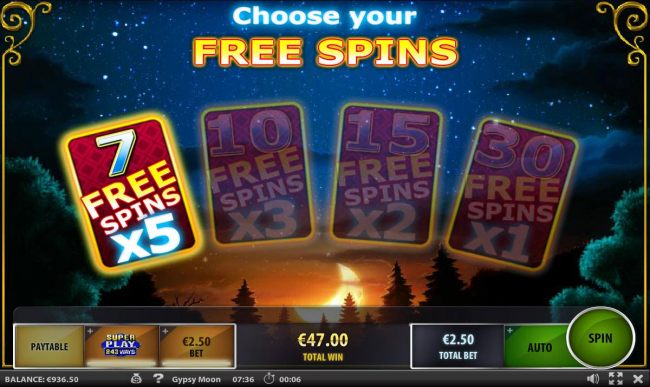 For the bonus round we are selecting the 7 free spins with an x5 multiplier.