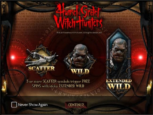 Features include Scatter, Wild and Extended Wild. 3 or more scatter symbols trigger free spins with sticky extanded wild.