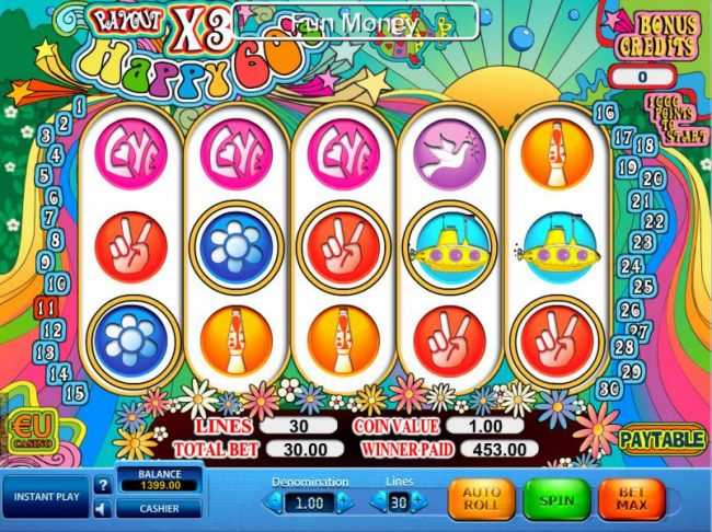 Free spins pays out a total of 453.00 for a big win.