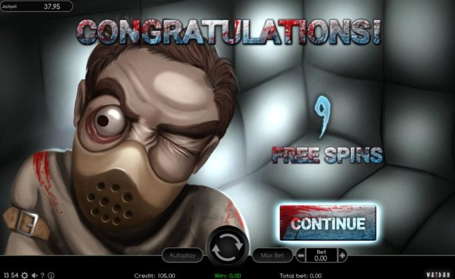 9 Free Spins Awarded.
