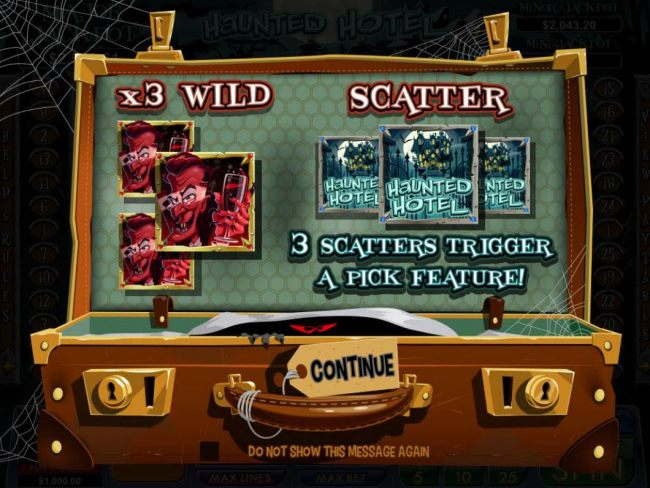 Game features include x3 wild and scatter symbol. 3 Haunted Hotel scatter symbols trigger a pick feature.