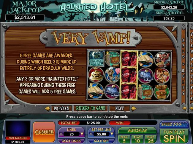 Very Vamp - 5 Free games are awarded, during which reel 3 is made up entirely of Dracula Wilds.