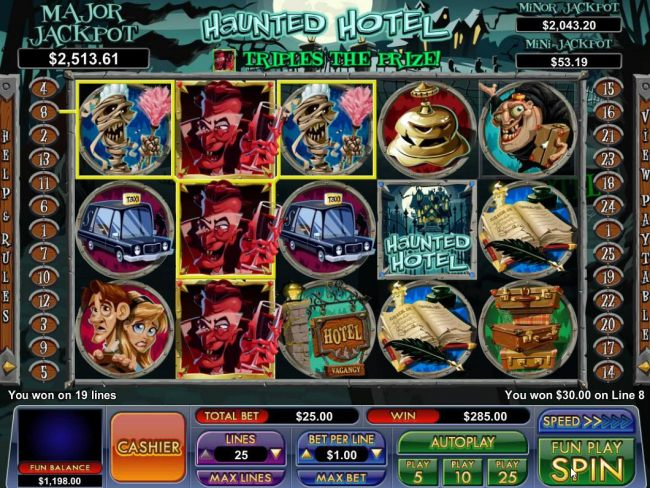 Stacked Dracula wild symbols on 2nd reel trigger multiple winning paylines.