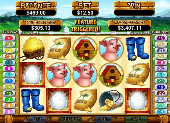 three egg symbols triggers free spins feature