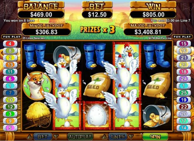 multiple winning paylines tiggers an $805 big win during free games feature