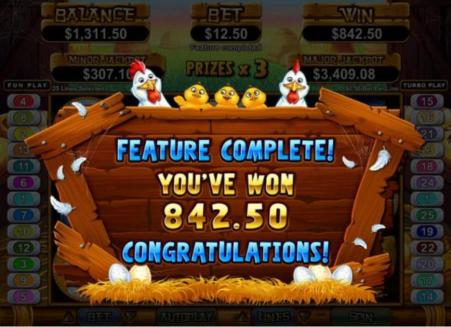 the free games feature pays out an $842 jackpot