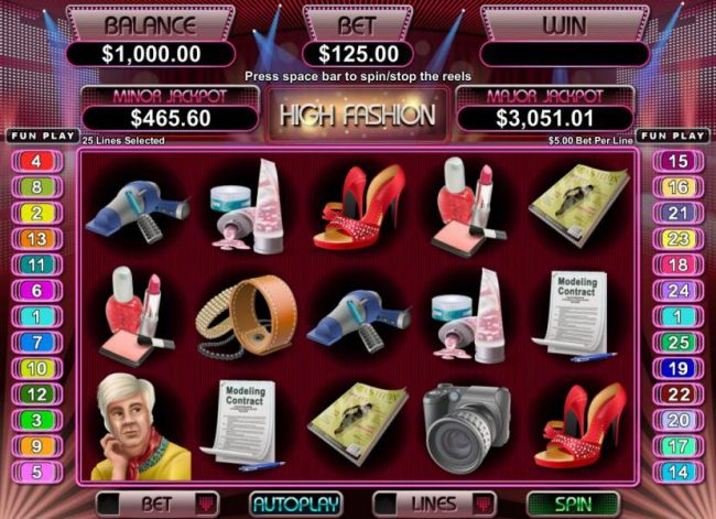 main game board featuring five reels, 25 paylines, multipliers, scatters, free spins and wilds