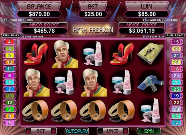 multiple winning paylines riggers an $85  payout
