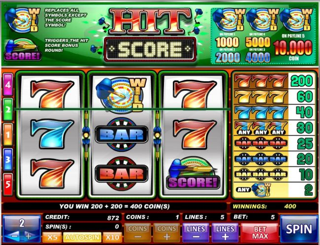 A 200 coin line win combined with a 200 coin Bonus Round win for a total of a 400 coin jackpot.