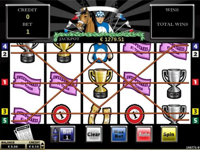 Main game board featuring five reels and 5 paylines with a $2,500 max payout