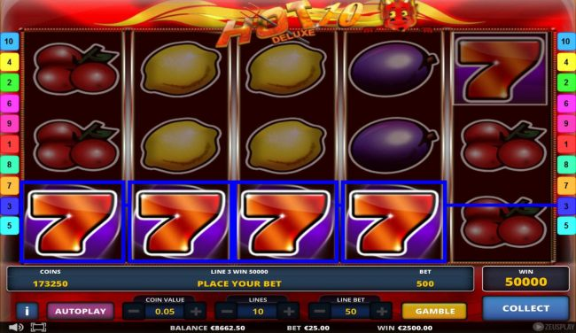 A winning Four of a Kind triggers a 50000 coin super win..