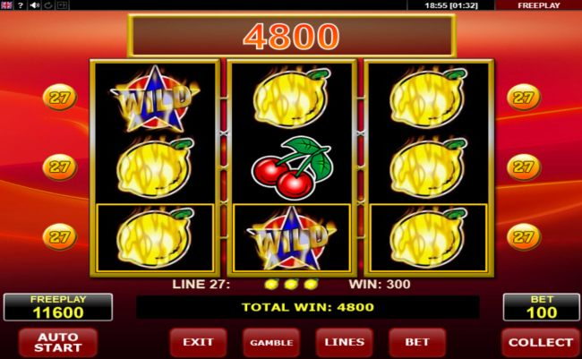 A 4800 coin big win triggered by multiple winning paylines
