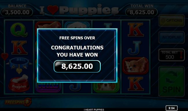 Total Free Spins Pay Out 8625 coins
