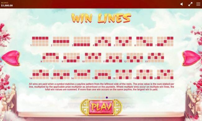 Payline Diagrams 1-20. All wins are paid when a symbol matches a payline pattern from the leftmost side of the reels.