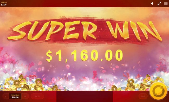 Player awarded a 1,160.00 super win.