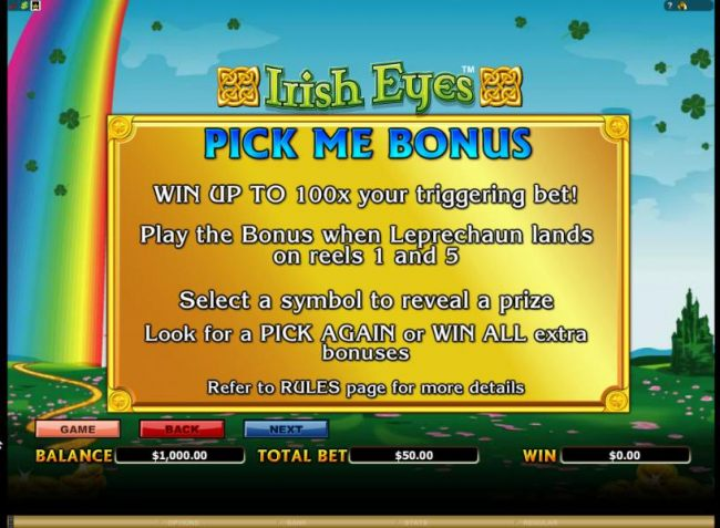 pick me bonus, win up to 100x your triggering bet