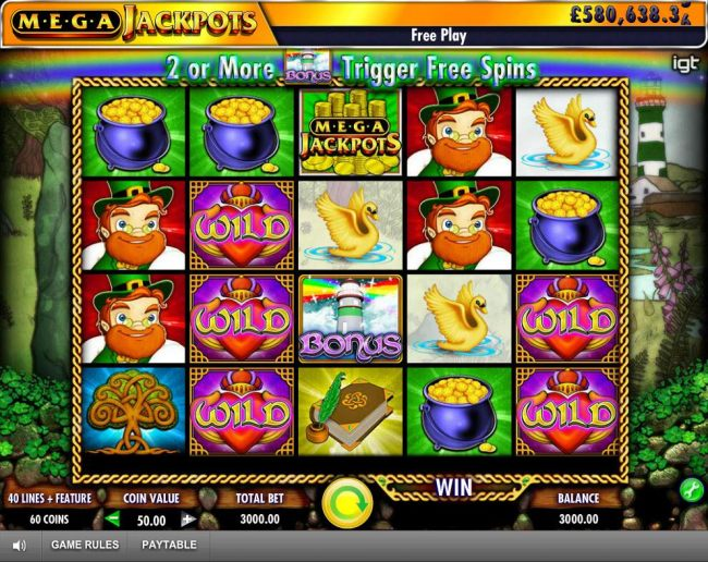 Main game board featuring five reels and 40 paylines with a progressive jackpot max payout
