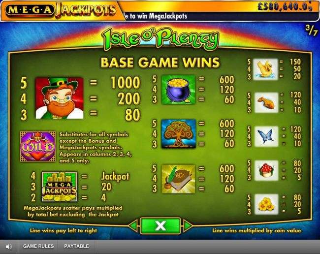Base Game Wins Paytable