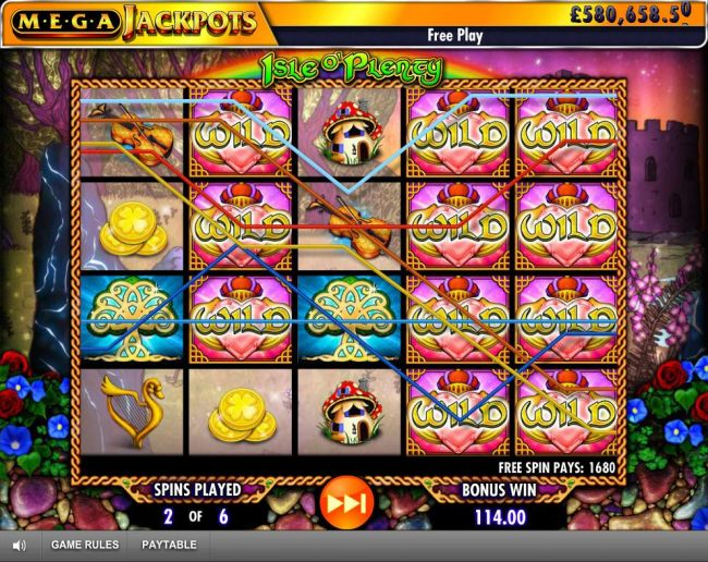 A 1680 coin jackpot triggered by multiple winning paylines during the Free Spins Feature.