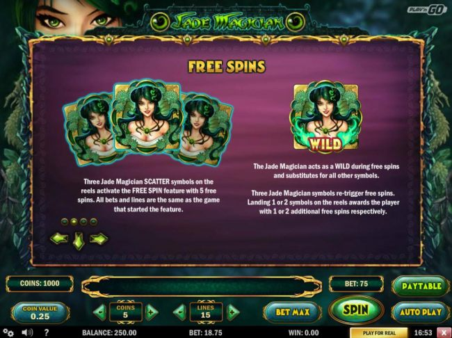Free Spins - Three Jade Magician scatter symbols on reels 1, 3 and 5 activates the Free Spin feature with 5 free spins. The Jade Magician acts as a Wild during the free spins and substitutes for all other symbols.