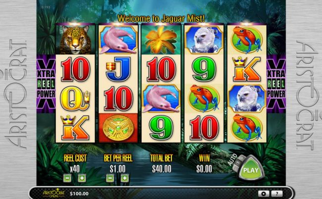 A jungle themed main game board featuring five reels and 243 winning combinations with a $12,000 max payout